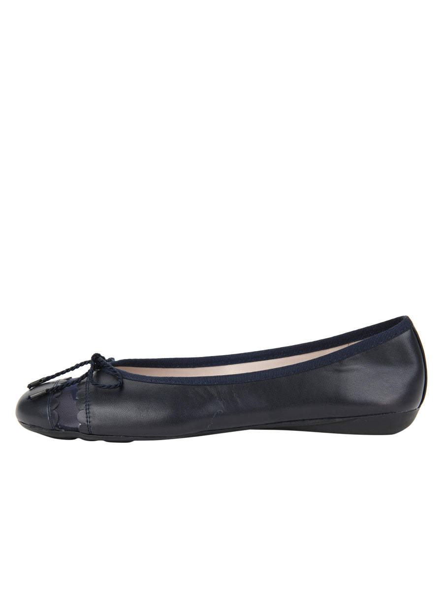 Womens Navy Leather Burg Leather Ballet Flat 6