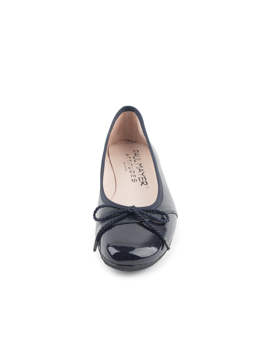 Womens Navy Patent/Navy Nappa Crave Leather Ballet Flat 4