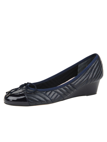 Womens PAT/NAP NAVY Nuba Quilted Leather Wedge