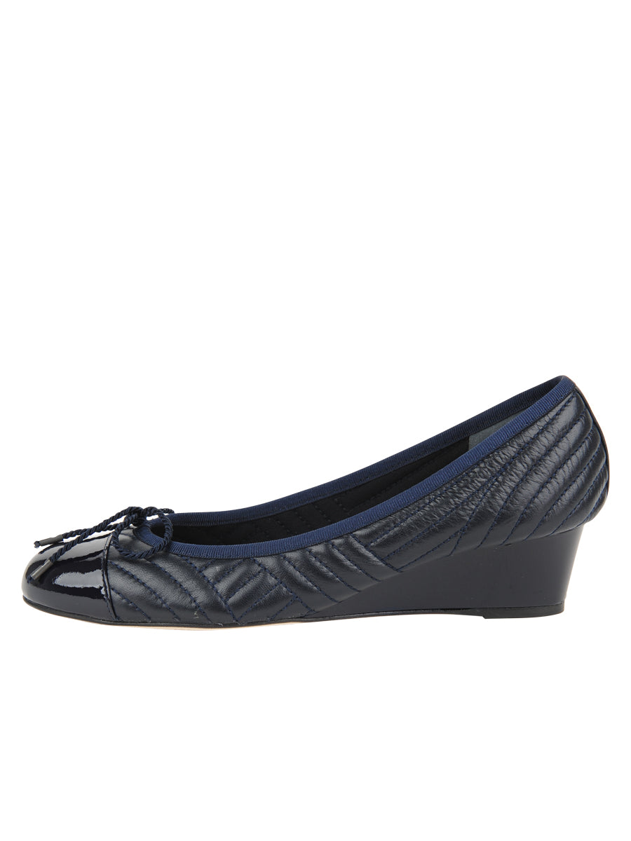 Womens PAT/NAP NAVY Nuba Quilted Leather Wedge 6