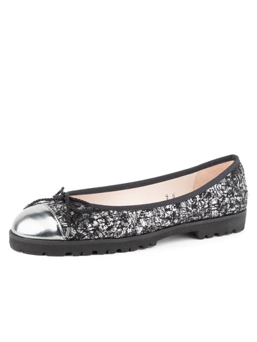 Womens Pewter/Black Multi Brandy Lug Sole Ballet