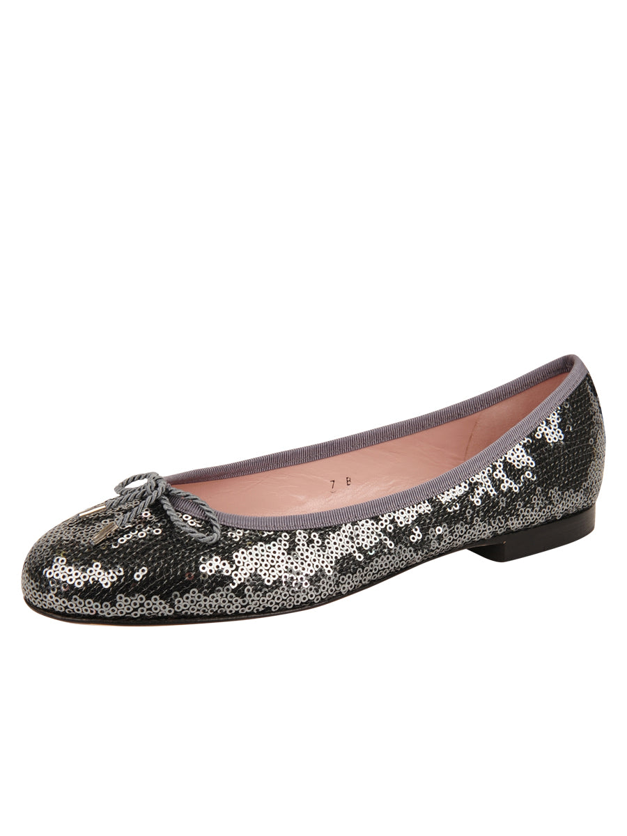 Womens Pewter Bingo Sequin Ballet Flat
