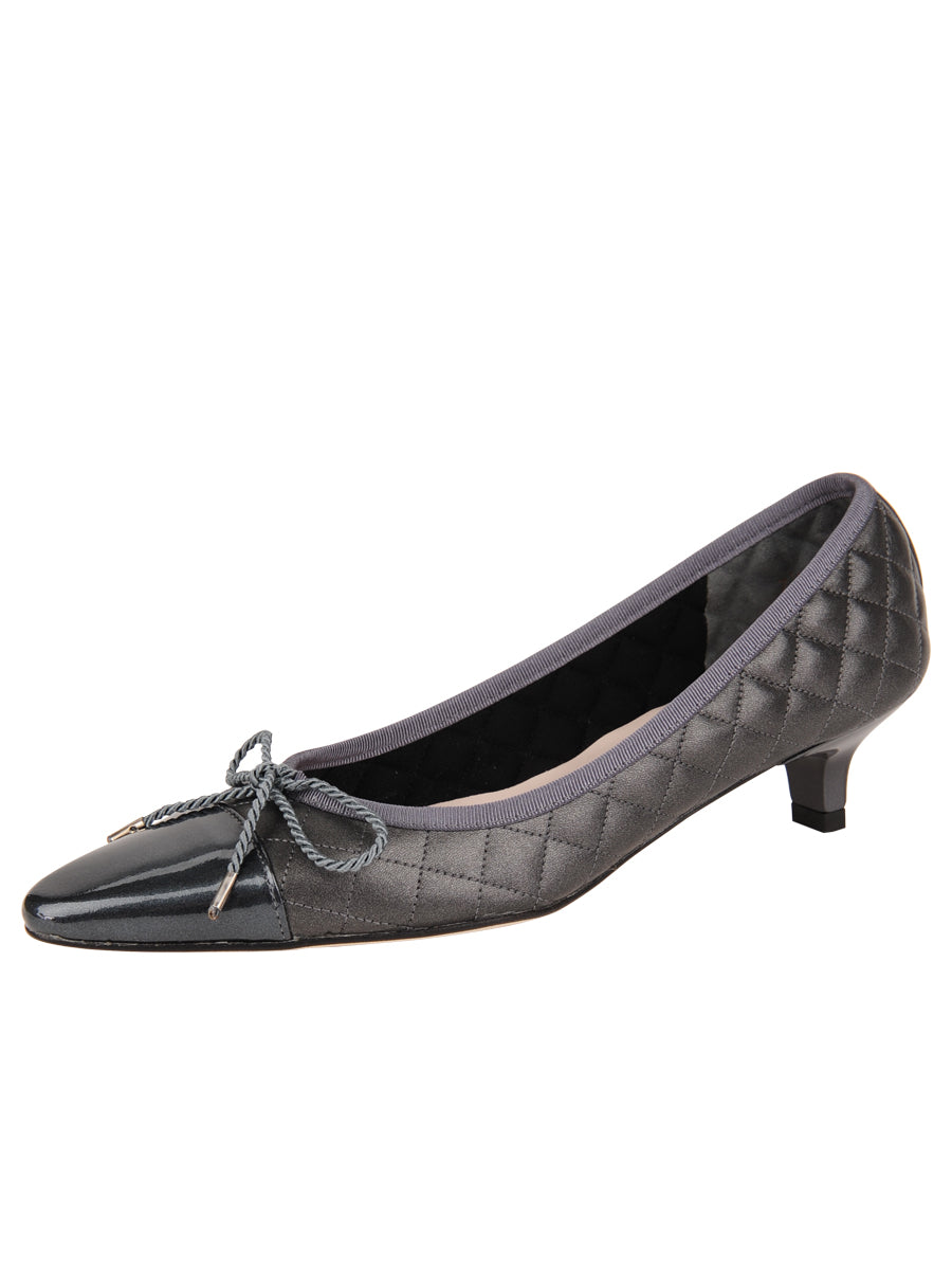 Womens Pewter Regal Pointed Toe Kitten Heel