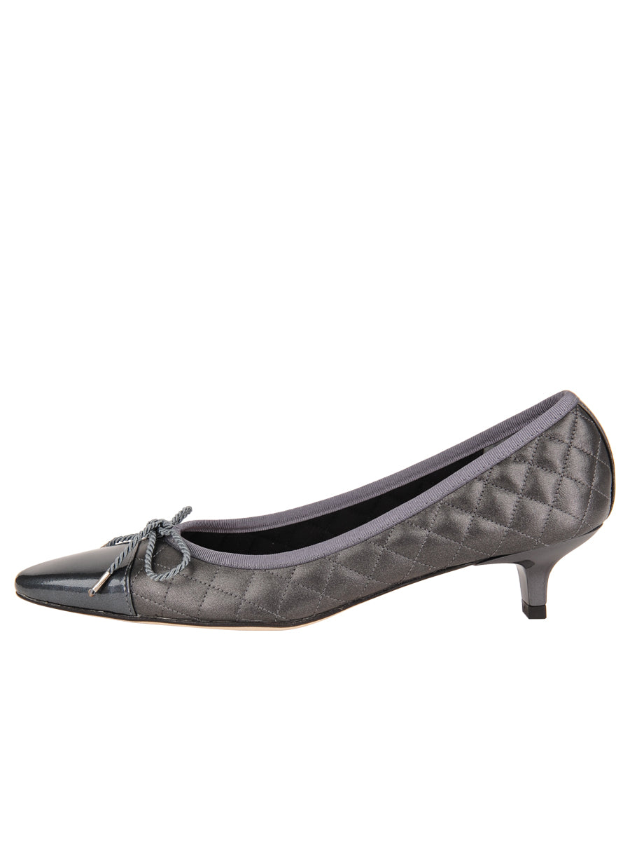 Womens Pewter Regal Pointed Toe Kitten Heel 6