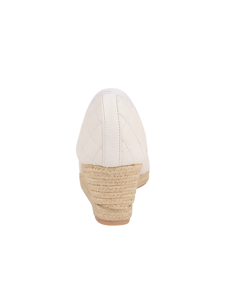 Womens White Just Quilted Wedge Espadrille 2