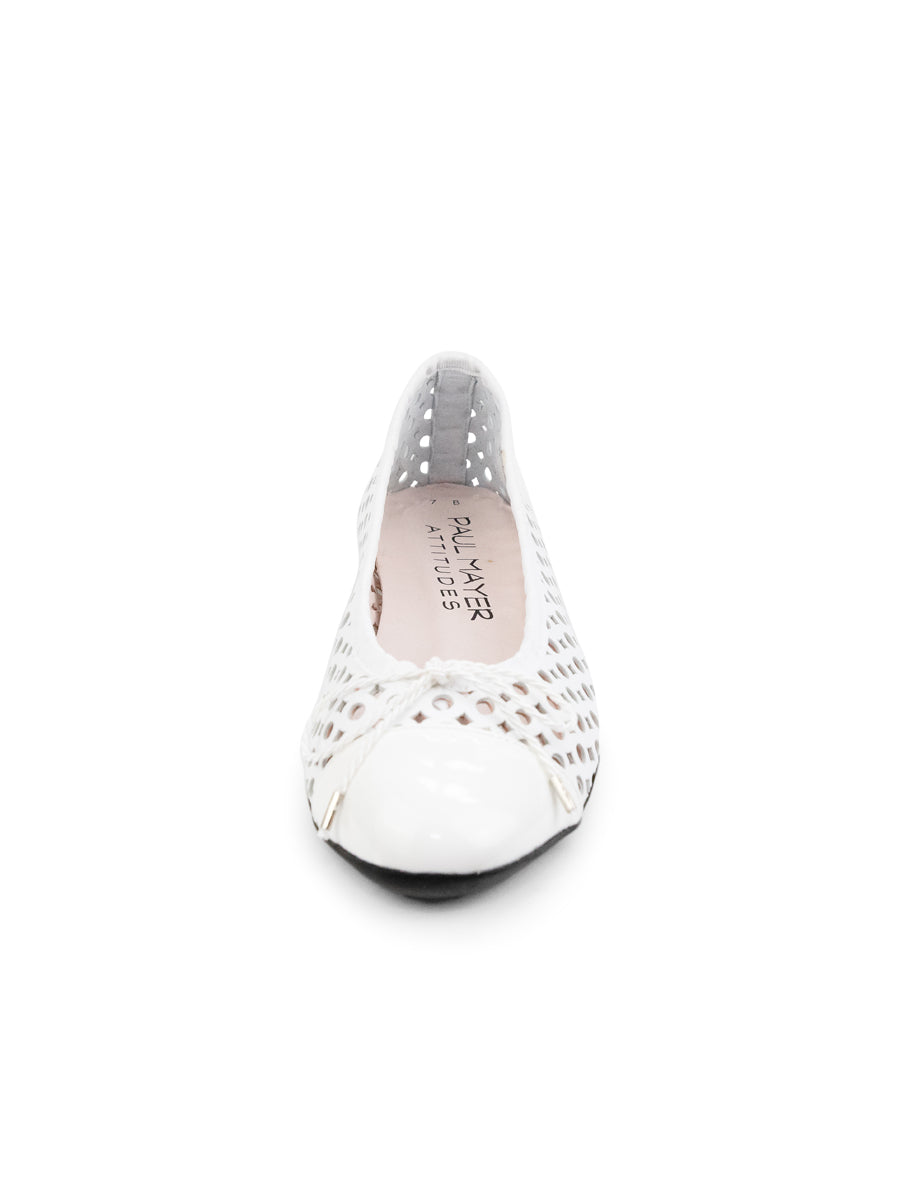 Womens White Brandy Perforated Ballet Flat 4