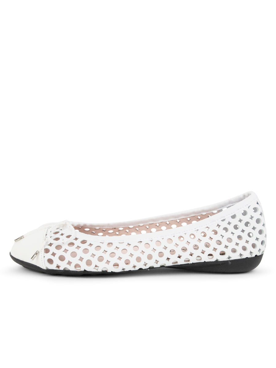 Womens White Brandy Perforated Ballet Flat 6