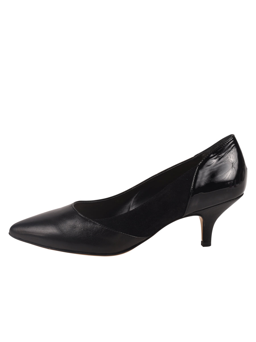 Black pump composed of leather, suede, and patent 5