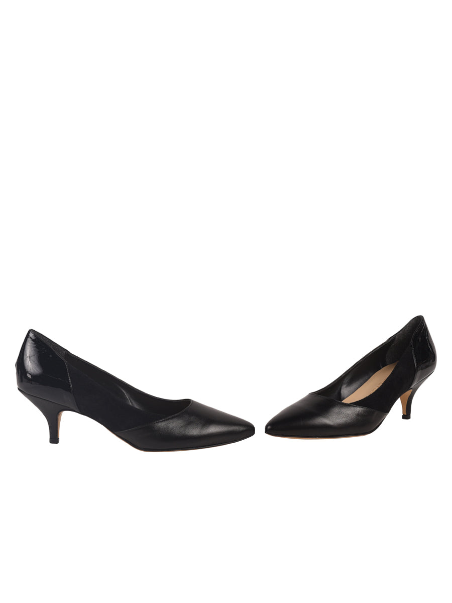 Black pump composed of leather, suede, and patent 7