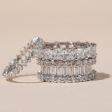 Womens Clear Asscher Cut Full CZ Eternity Band .925 sterling silver 2
