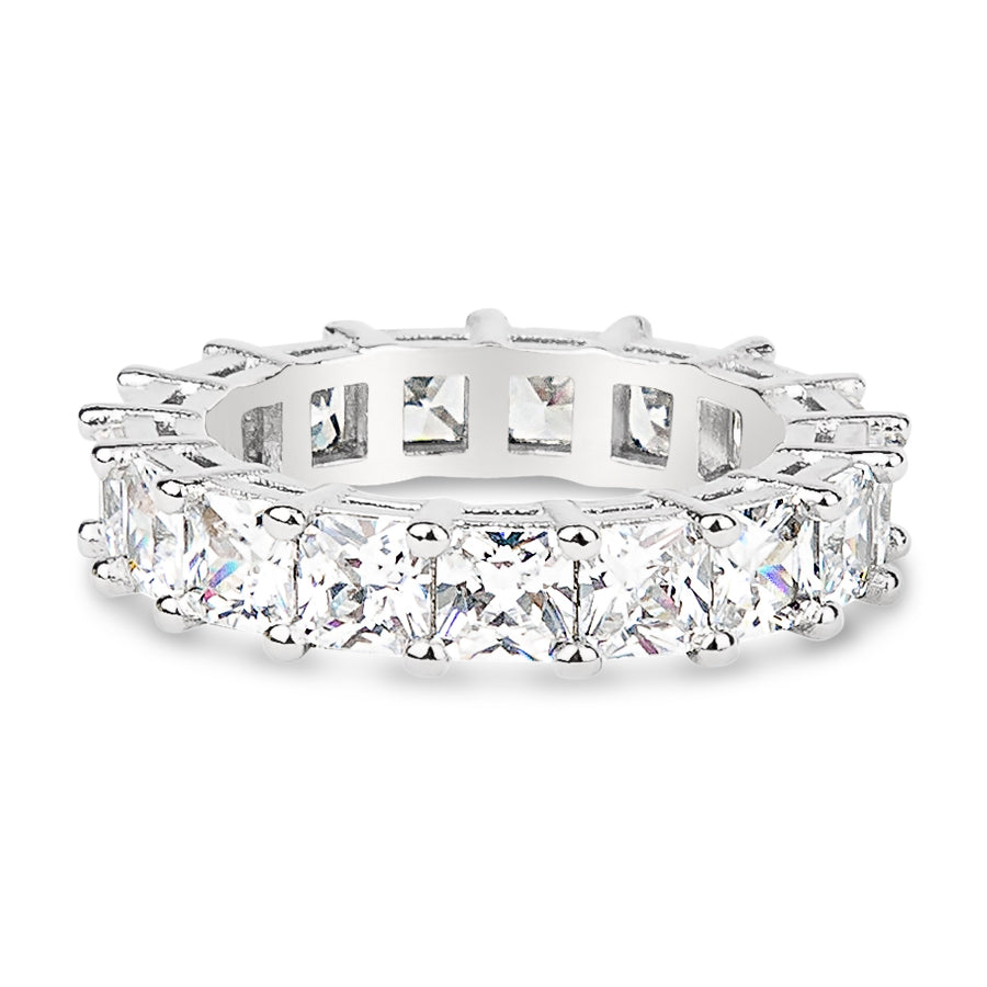 Womens Clear Asscher Cut Full CZ Eternity Band .925 sterling silver 4