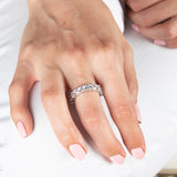Womens Clear Asscher Cut Full CZ Eternity Band .925 sterling silver 5