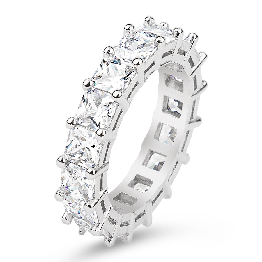 Womens Clear Asscher Cut Full CZ Eternity Band .925 sterling silver 6