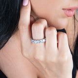 Womens Clear Asscher Cut Full CZ Eternity Band .925 sterling silver 7