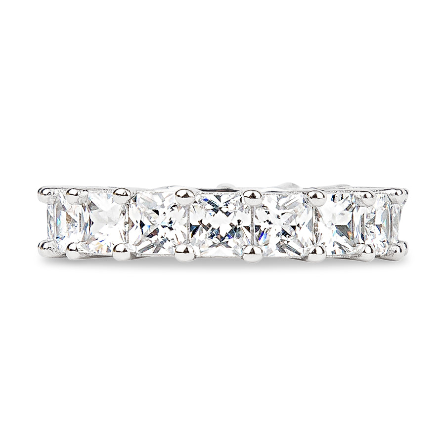 Womens Clear Asscher Cut Full CZ Eternity Band .925 sterling silver