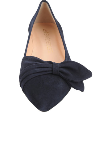 Navy pointed toe flat 4 Alternate View