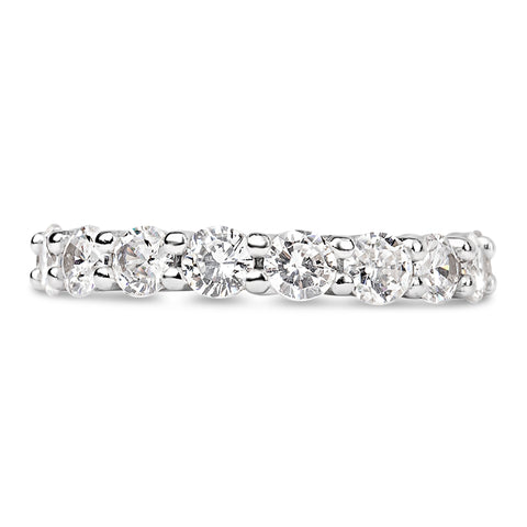 Womens Sterling Silver The Simple Round Cut Full CZ Eternity Band .925 Sterling Silver