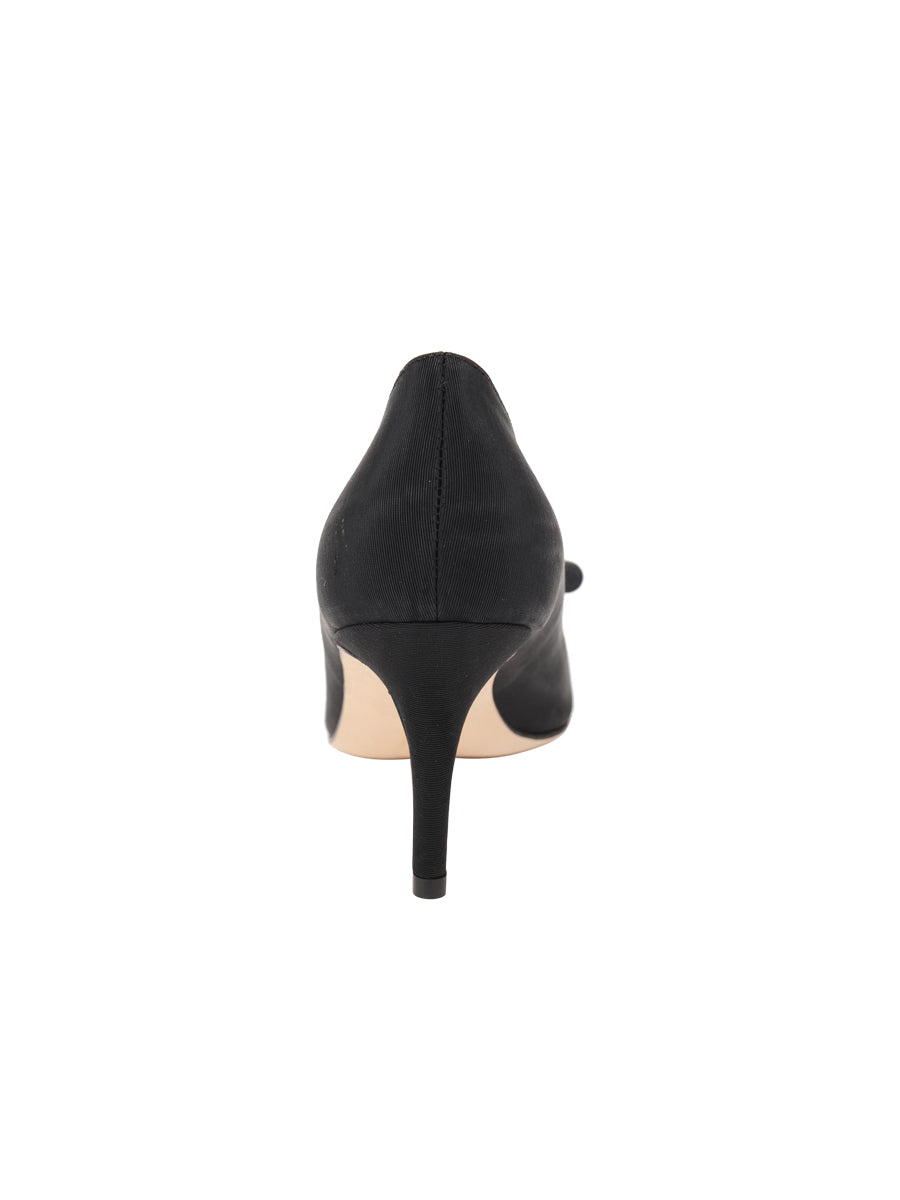 Womens Black Moire Pointed Toe Pump 2