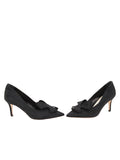 Womens Black Moire Pointed Toe Pump 5