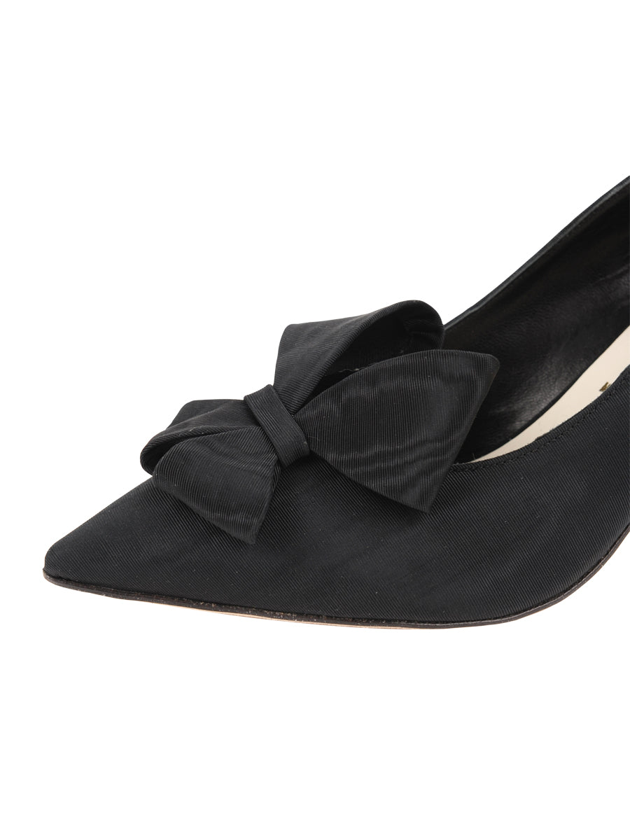 Womens Black Moire Pointed Toe Pump 6