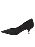 Womens Black Moire Noris Pointed Toe Kitten Heel 7