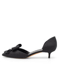 Womens Black Vintage Silk Cliff d'Orsay Kitten Heel 2