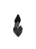 Womens Black Vintage Silk Cliff d'Orsay Kitten Heel 6