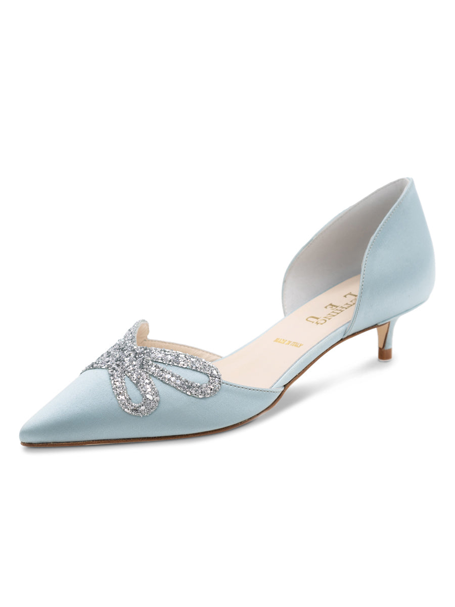 Womens Blue Satin Darla d'Orsay Kitten Heel