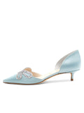 Womens Blue Satin Darla d'Orsay Kitten Heel 7