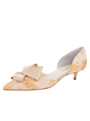 Womens Gold Romance Cliff d'Orsay Kitten Heel