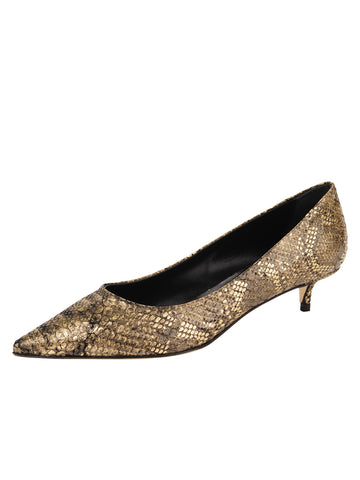 Womens Gold Snake Belles Pointed Toe Kitten Heel