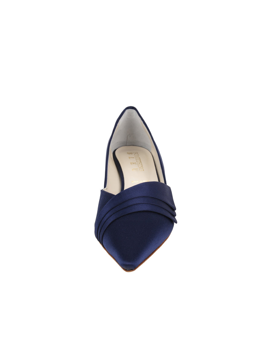 Womens Navy Satin Brenna Kitten Heel 4