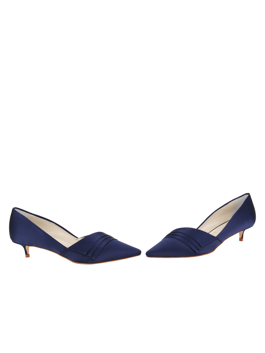 Womens Navy Satin Brenna Kitten Heel 5