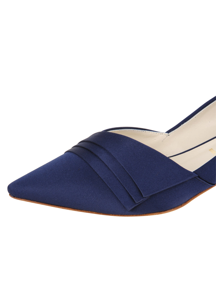 Womens Navy Satin Brenna Kitten Heel 6