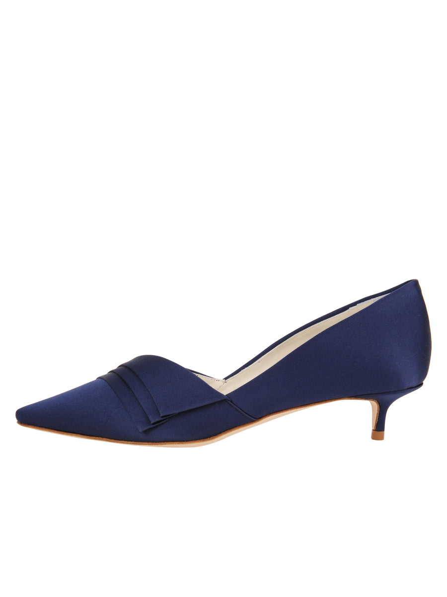 Womens Navy Satin Brenna Kitten Heel 7