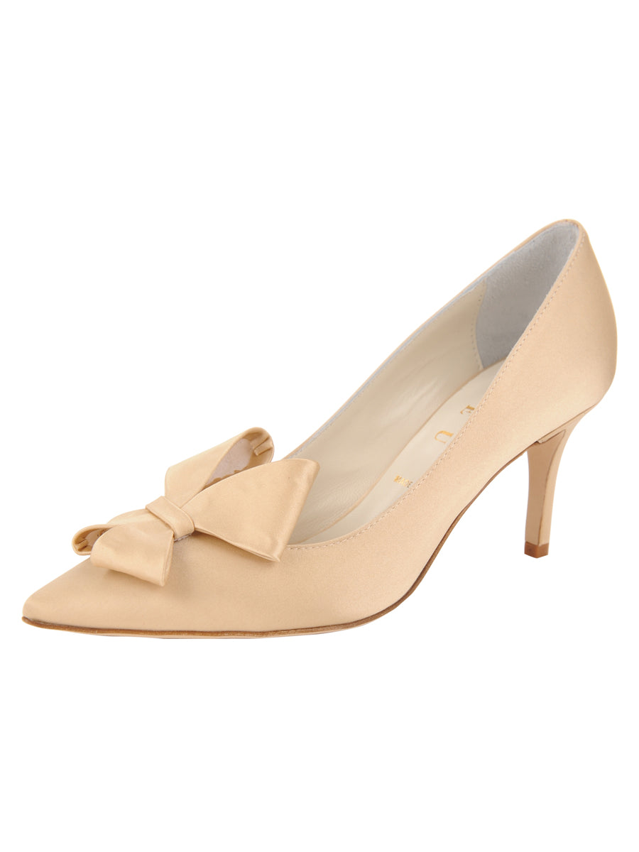 Womens Nude Satin Pointed Toe Pump