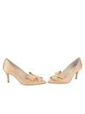 Womens Nude Satin Pointed Toe Pump 5