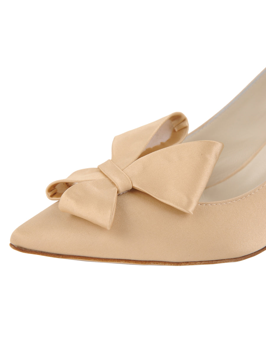 Womens Nude Satin Pointed Toe Pump 6