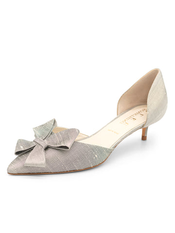 Womens Pewter Vintage Silk Cliff d'Orsay Kitten Heel
