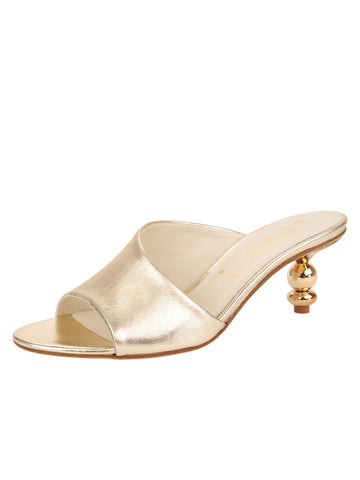 Womens Platinum Nappa Lux Orena Decorative Heeled Sandal