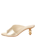 Womens Platinum Nappa Lux Orena Decorative Heeled Sandal 7