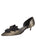 Womens Platinum Stripe Metallic Cliff d'Orsay Kitten Heel