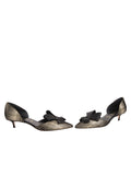 Womens Platinum Stripe Metallic Cliff d'Orsay Kitten Heel 5
