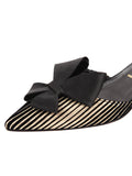 Womens Platinum Stripe Metallic Cliff d'Orsay Kitten Heel 6