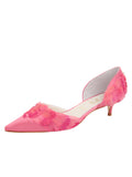 Womens Rose Pink Satin Bunty D'Orsay Kitten Heel