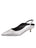 Womens Silver Metallic Floral Brook Slingback Kitten Heel