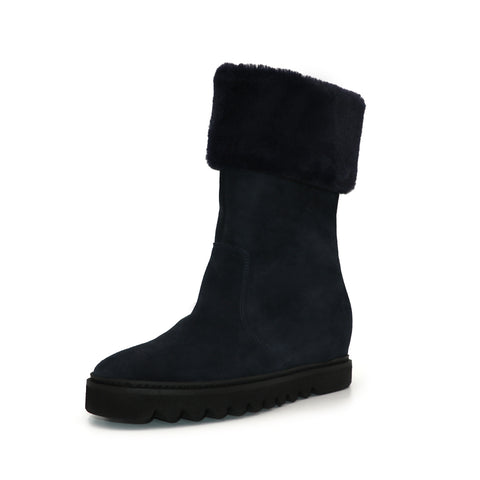 Womens Navy Velour Dumbo Boot