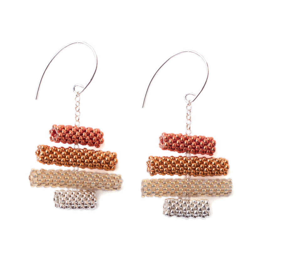 Iona Earrings in Red Gold and Silver