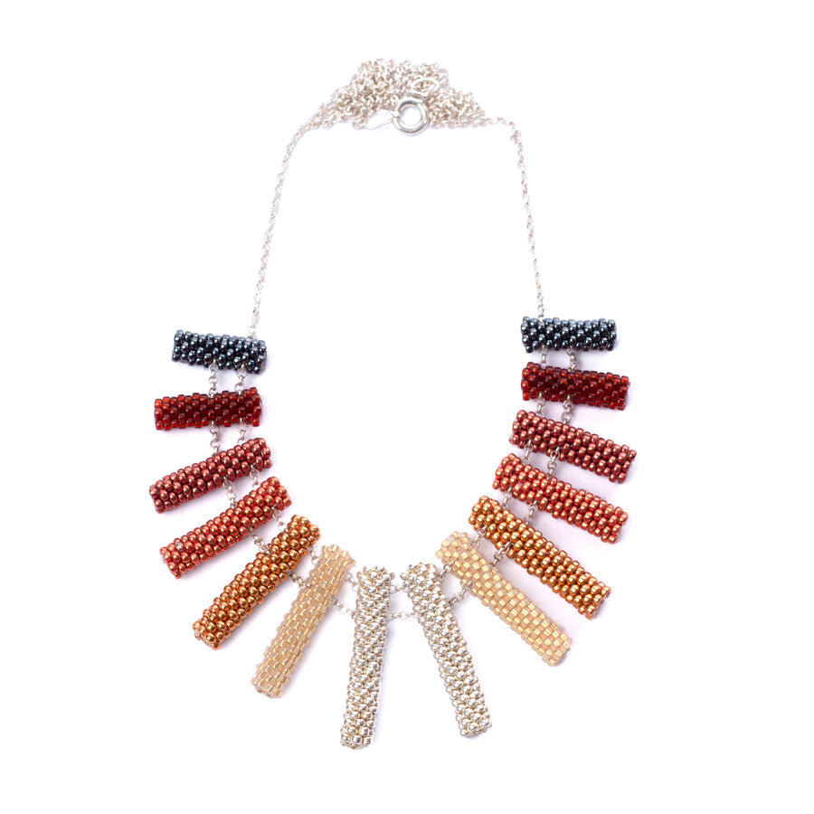 Iona Necklace in Red Gold and Silver