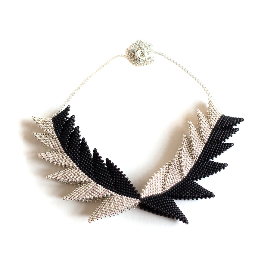 Contrast Thousand Hills Elements Necklace in Silver and Black